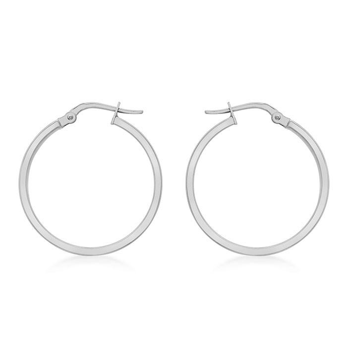 9ct White Design Hoop Earrings - 3mm Tube, 30mm Diameter