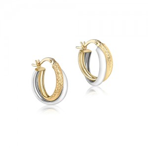 9ct Two Colour Crossover Creole Hoop Earrings