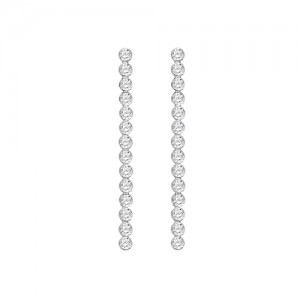 Sterling Silver Long CZ Drop Earrings