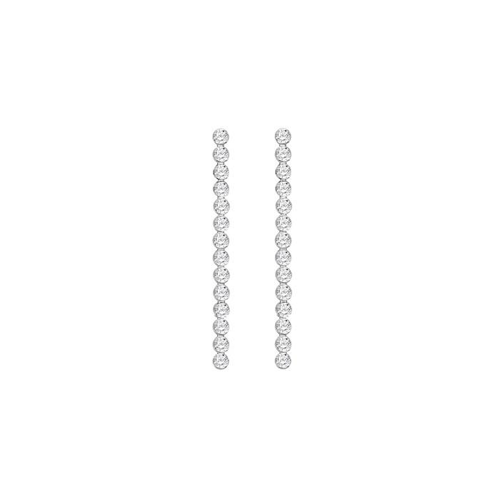 Sterling Silver Long CZ Drop Earrings
