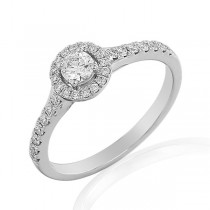 Platinum 0.43ct Diamond Halo Engagement Ring with Diamond Shoulders
