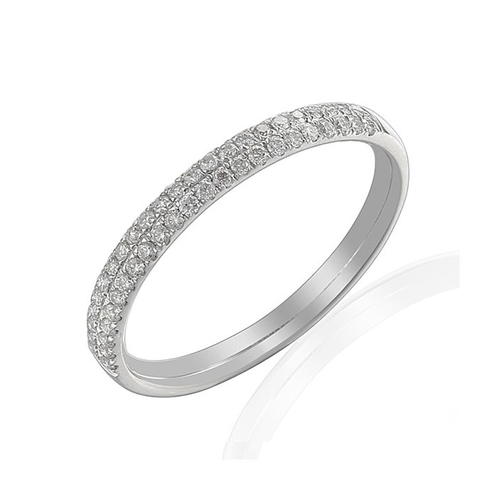 Platinum Two Row Diamond Wedding Band - 0.23cts