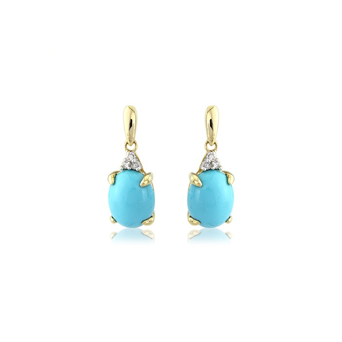 9ct Gold Turquoise And Diamond Drop Earrings
