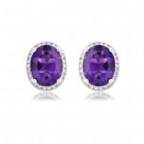 9ct White Gold Amethyst & Diamond Cluster Earrings