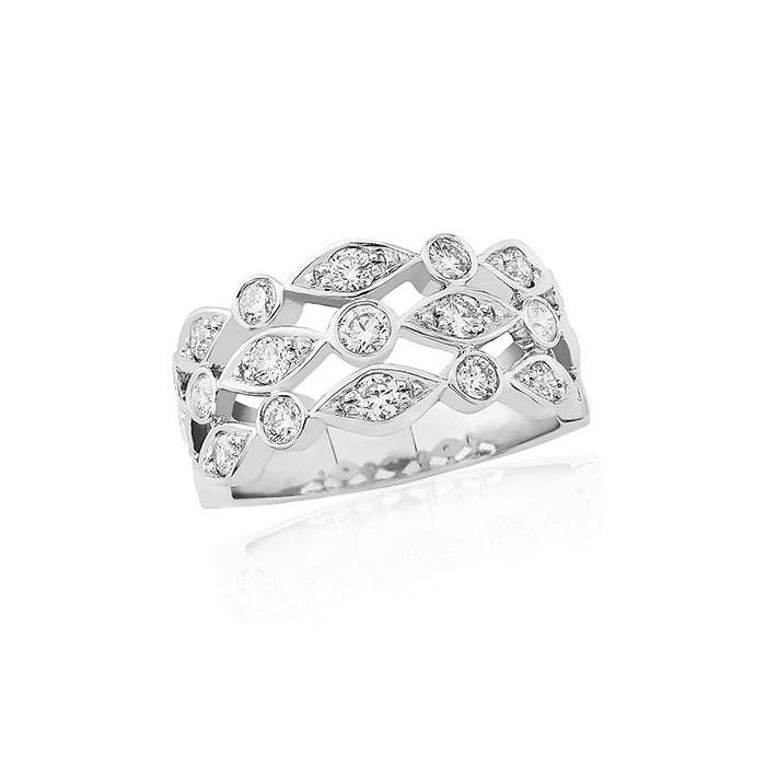 18ct White Gold Three Row Diamond Dress Ring - 0.95cts