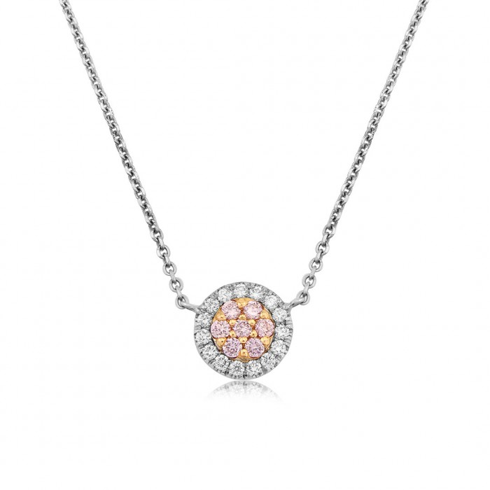 18ct White & Rose Gold White & Pink Diamond Necklet - 0.19ct