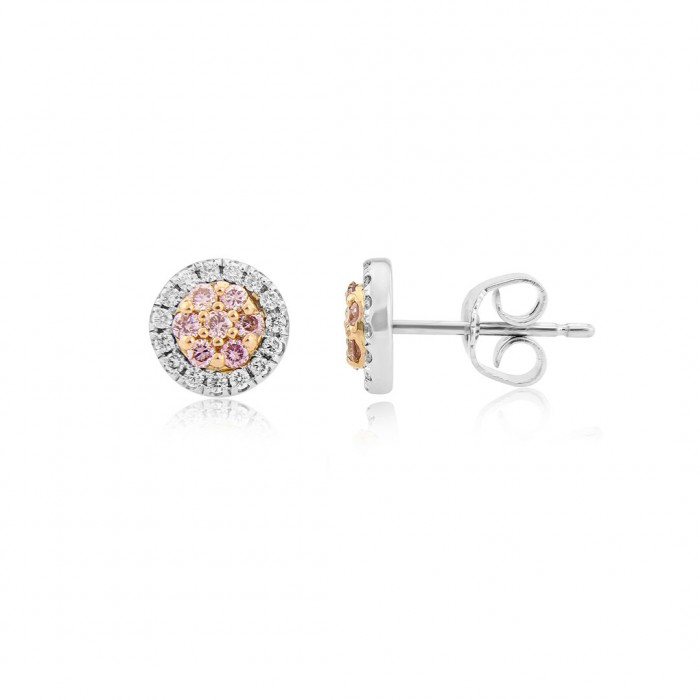 18ct White & Rose Gold White & Pink Diamond Earrings: 0.37ct.