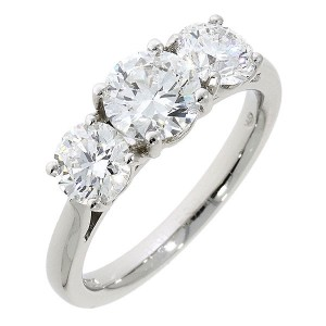 Platinum 3 Stone Diamond Ring - 0.91 + 1.13ct  G/SI1