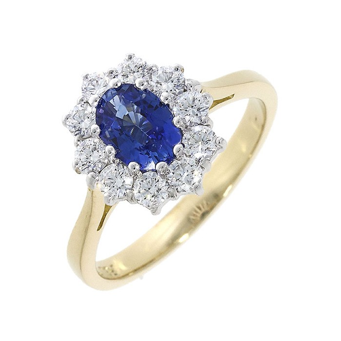 18ct Gold Sapphire & Diamond Cluster Ring - S 1.27  D 0.72