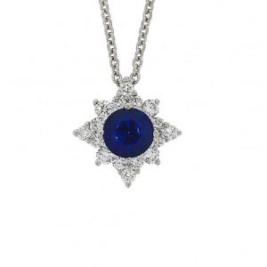 18ct White Gold Sapphire & Diamond Star Necklet S 0.39 D 0.19