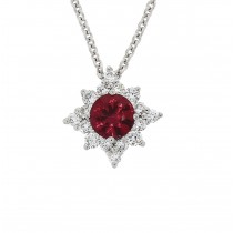 18ct White Gold Ruby & Diamond Star Necklet - R 0.39 D 0.20