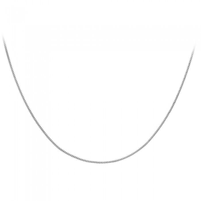 """18ct White Gold 16""""Diamond Cut Curb Chain."""