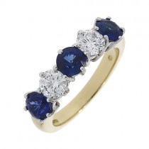 18ct Gold Sapphire & Diamond Eternity Ring - S 1.45 D 0.75