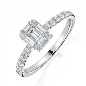18ct White Gold Baguette & Round Diamond Cluster Ring - 0.53ct