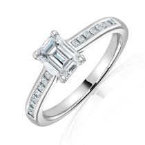 Platinum Emerald Cut Diamond Solitaire Ring 1.01 + 0.20ct G/VS1