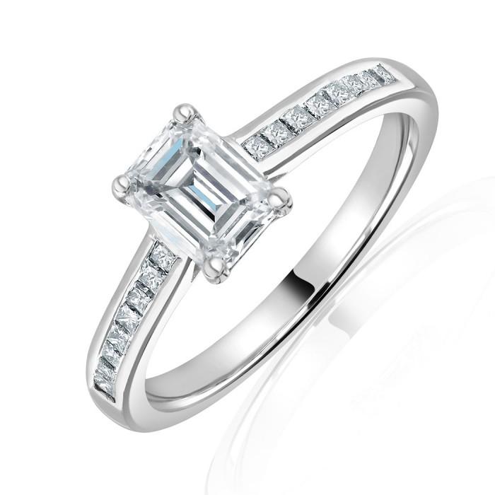 Platinum Emerald Cut Diamond Solitaire Ring 1.01 + 0.20ct G/VS1