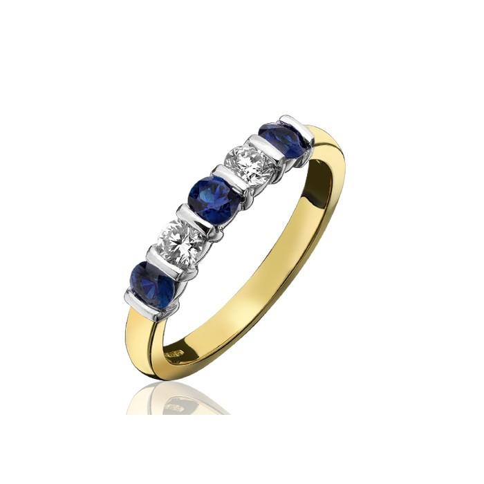 18ct Gold Sapphire & Diamond Eternity Ring - S 0.76 D 0.38