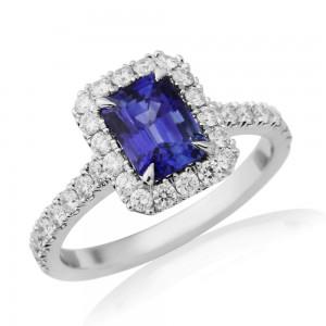 Platinum Sapphire & Diamond Ring - S 1.60 D 0.55ct
