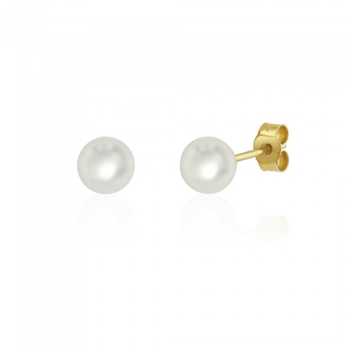 9ct Yellow Gold Cultured Pearl Stud Earrings - 6.0 - 6.5mm