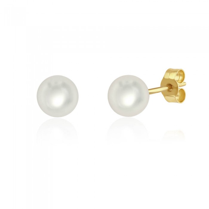 18ct Yellow Gold Cultured Pearl Stud Earrings - 6.5 - 7.0mm