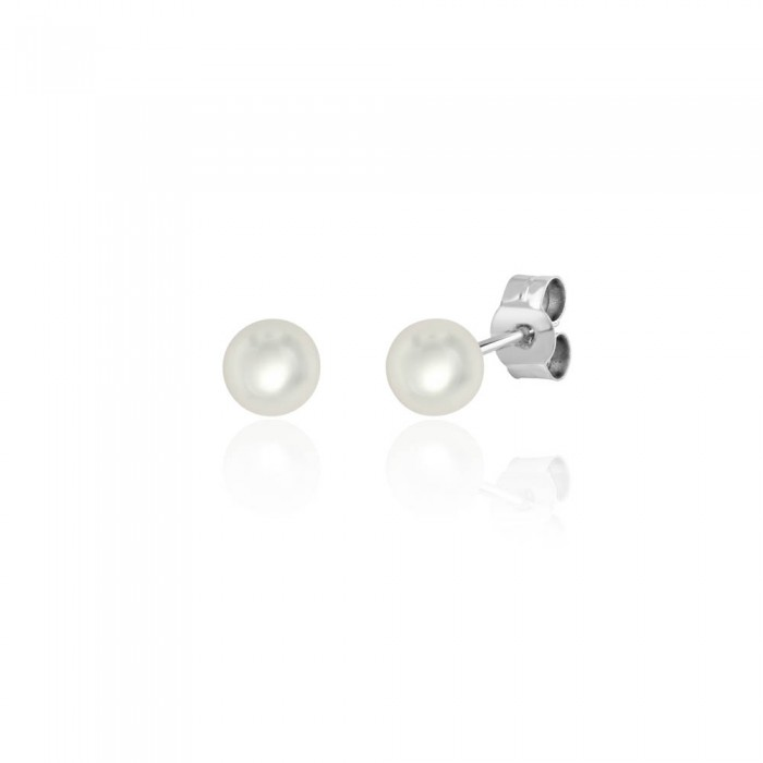18ct White Gold Cultured Pearl Stud Earrings - 5.0 - 5.5mm