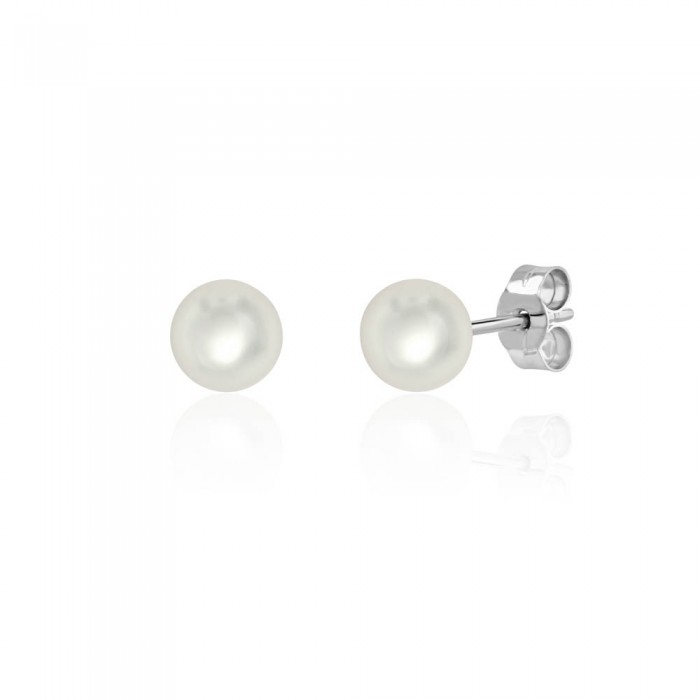 18ct White Gold Cultured Pearl Stud Earrings - 6.0 - 6.5mm