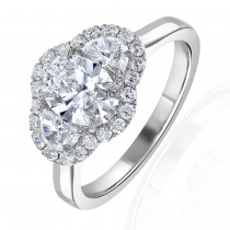 1 Carat Oval Three Stone Halo Engagement Ring - GIA Certified