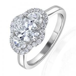 Platinum Oval & Half Moon Diamond Halo Ring - 1.00 + 0.66ct F/VS