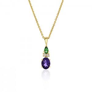 18ct Gold Tourmaline, Diamond & Amethyst Thistle Pendant