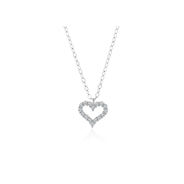 18ct White Gold Diamond Heart Pendant & Chain - 0.11ct