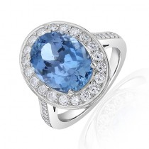 Aquamarine Halo Ring White Gold 4.53ct  - Macintyres Edinburgh