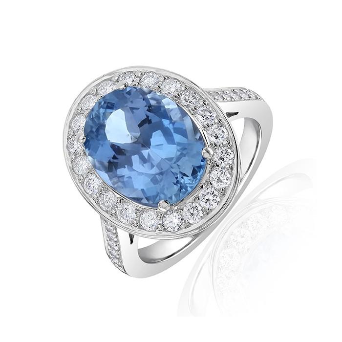 18ct White Gold Diamond & Aquamarine Halo Ring A 4.53 D 0.76ct