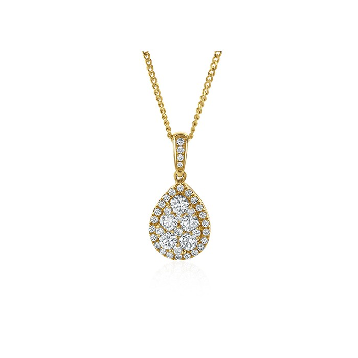 18ct Gold Diamond Pear-shaped Cluster Pendant - 0.73ct