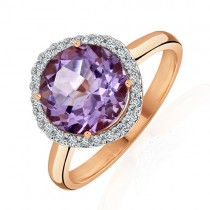 9ct Rose Gold Amethyst & Diamond Dress Ring - D 0.15