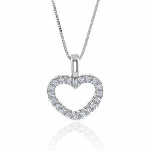 18ct White Gold Heart Shaped Diamond Pendant - 0.12 cts