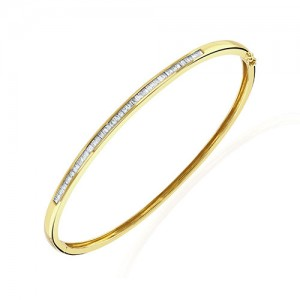 18ct Gold Baguette Diamond Set Oval Hinged Bangle - 0.50cts