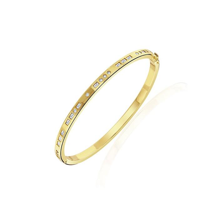 18ct Gold Morse Code'I Love You'Diamond Bangle - 0.94cts
