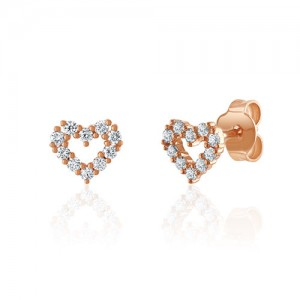 18ct Rose Gold Diamond Heart Earrings - 0.25ct