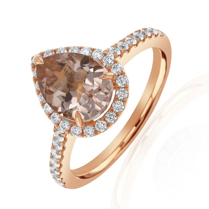 18ct Rose Gold Morganite & Diamond Ring - M 1.60ct D 0.36ct