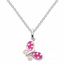 Kit Heath Pink Butterfly Silver Necklace - 9923PK