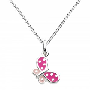 Kit Heath Pink Butterfly Silver Necklace - 9923PK