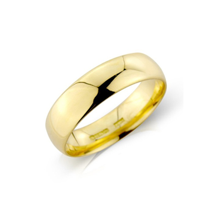 18ct Gold 6mm Heavyweight Court Wedding Band - sizes P to Z