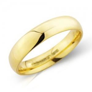 18ct Gold 4mm Medium Court Wedding Band - sizes P to Z