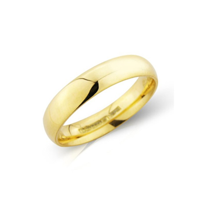 18ct Gold 4mm Deluxe Court Wedding Band - sizes I to O