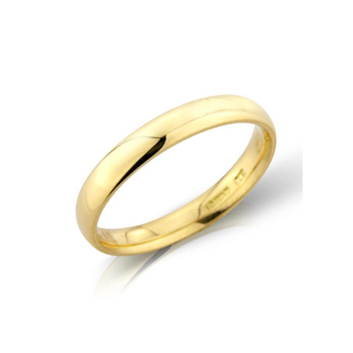 18ct Gold 3mm Heavyweight Court Wedding Band - sizes I to O