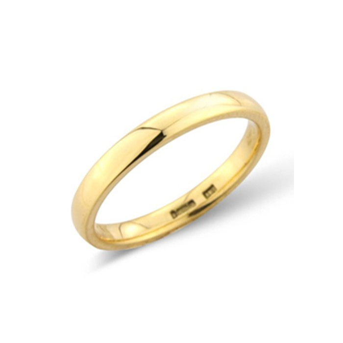 18ct Gold 2.5mm Deluxe Court Wedding Band - sizes I to O