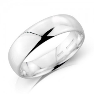 18ct White Gold 6mm Deluxe Court Wedding Band - sizes P to Z