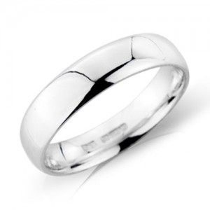 18ct White Gold 5mm Deluxe Court Wedding Band - sizes P to Z