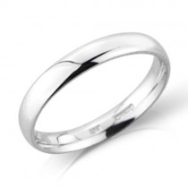 Ladies 18ct White Gold 3mm Court Wedding Band [Save 40% OFF High Street Prices]