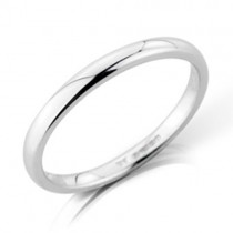 Ladies 18ct White Gold 2mm Court Wedding Band [Save 40% OFF High Street Prices]